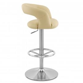 Chaise de Bar Faux Cuir Chrome Brossé - Monza Crème