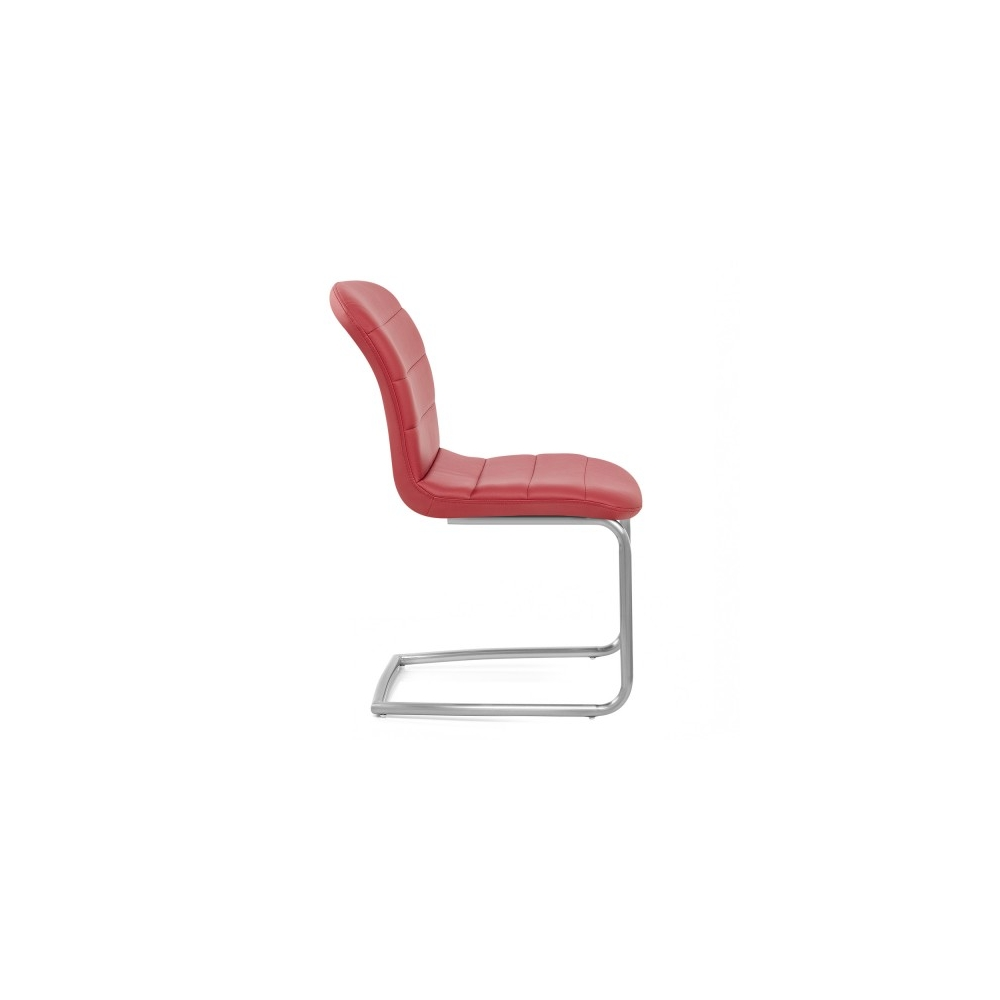 Chaise faux cuir chrome bross mica rouge monde du for Chaise cuir rouge