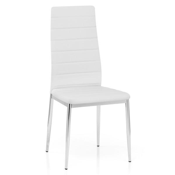 chaise faux cuir chrome francesca blanc monde du tabouret. Black Bedroom Furniture Sets. Home Design Ideas