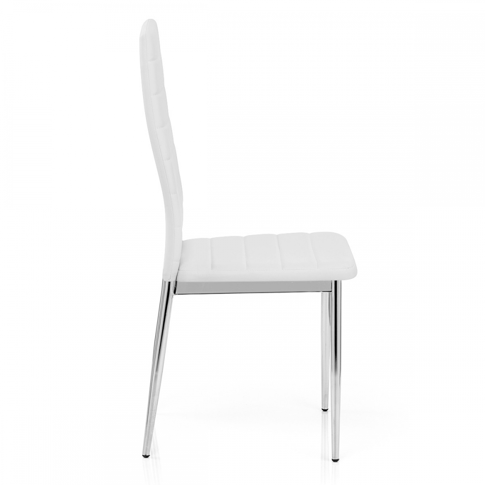 Chaise faux cuir chrome francesca blanc monde du tabouret for Chaise cuir blanc
