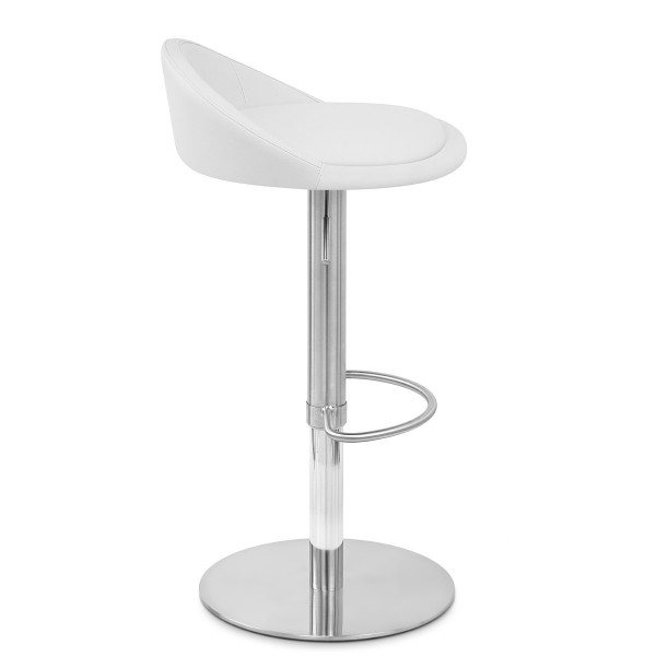 Chaise de Bar Faux Cuir Chrome Brossé - Ava
