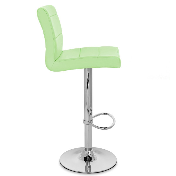 Chaise de bar faux cuir chrome breakfast monde du tabouret for Chaise de bar en cuir