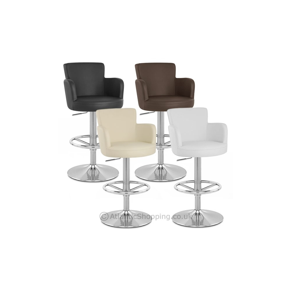 Tabouret chateau chrome brosse - Chaise de bar en cuir ...