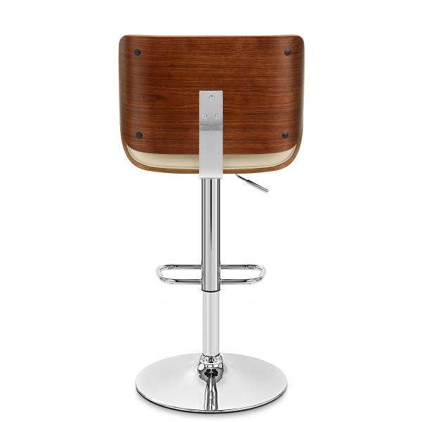 Chaise de bar Bois Cuir Croûté - Aldo Crème