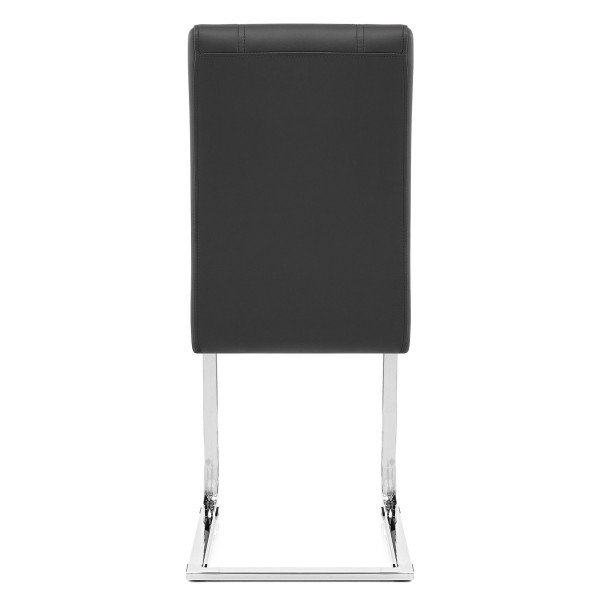 Chaise Faux Cuir Chrome - Anima Noir
