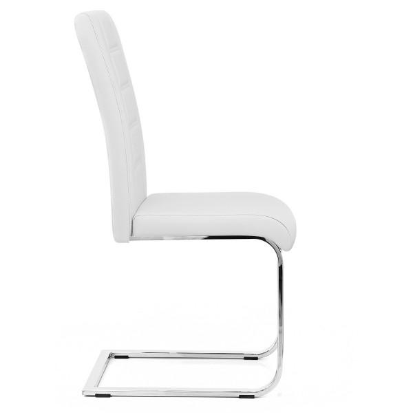 Chaise Faux Cuir Chrome - Anima Blanc