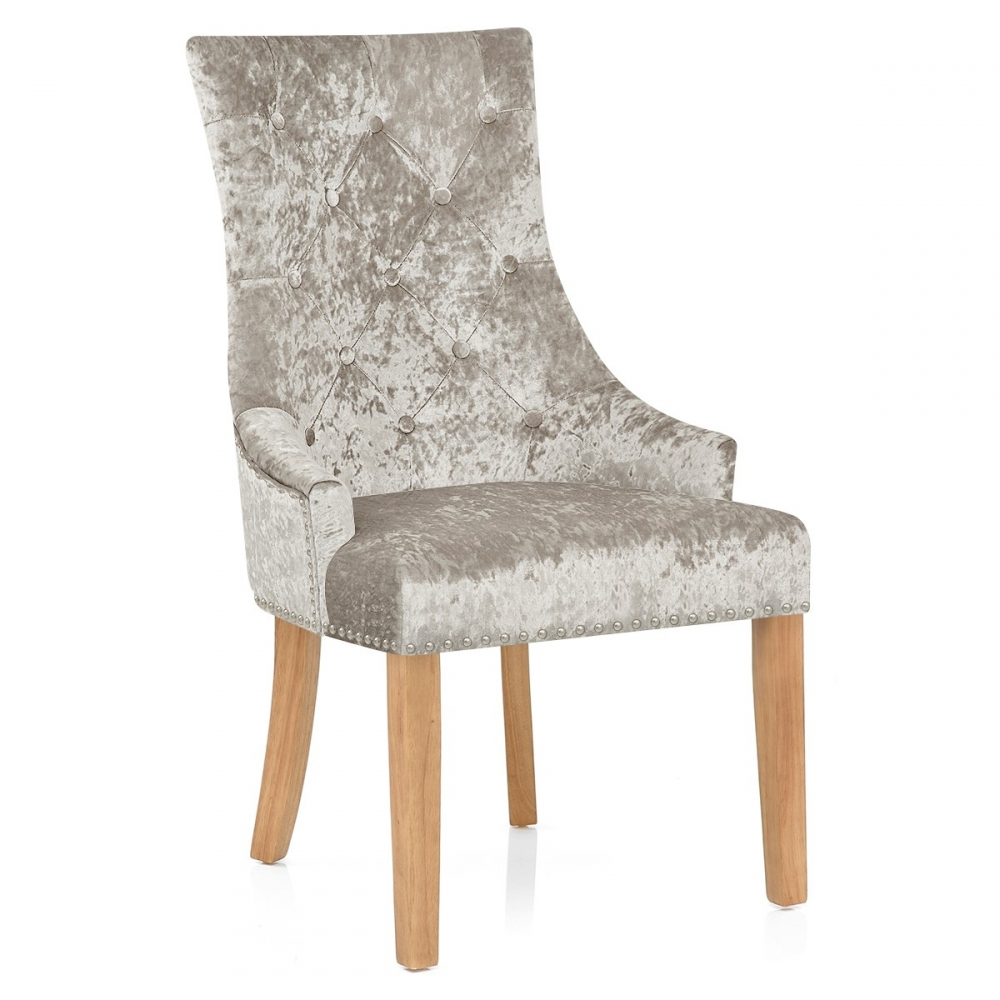 chaise chne velours ascot taupe - Chaise Chene