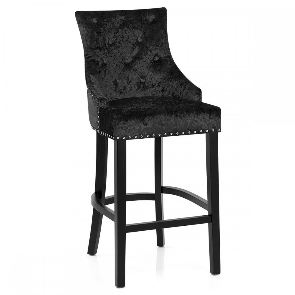 chaise de bar bois velours ascot monde du tabouret. Black Bedroom Furniture Sets. Home Design Ideas