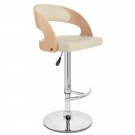 Chaise de Bar Bois Chrome - Eve Chêne