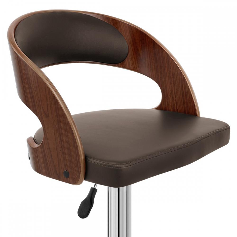 Chaise de bar bois chrome eve noyer monde du tabouret for Chaise de bar en bois