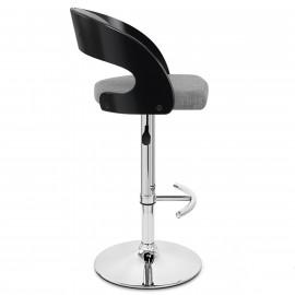 Chaise de Bar Bois Tissu - Eve Noir