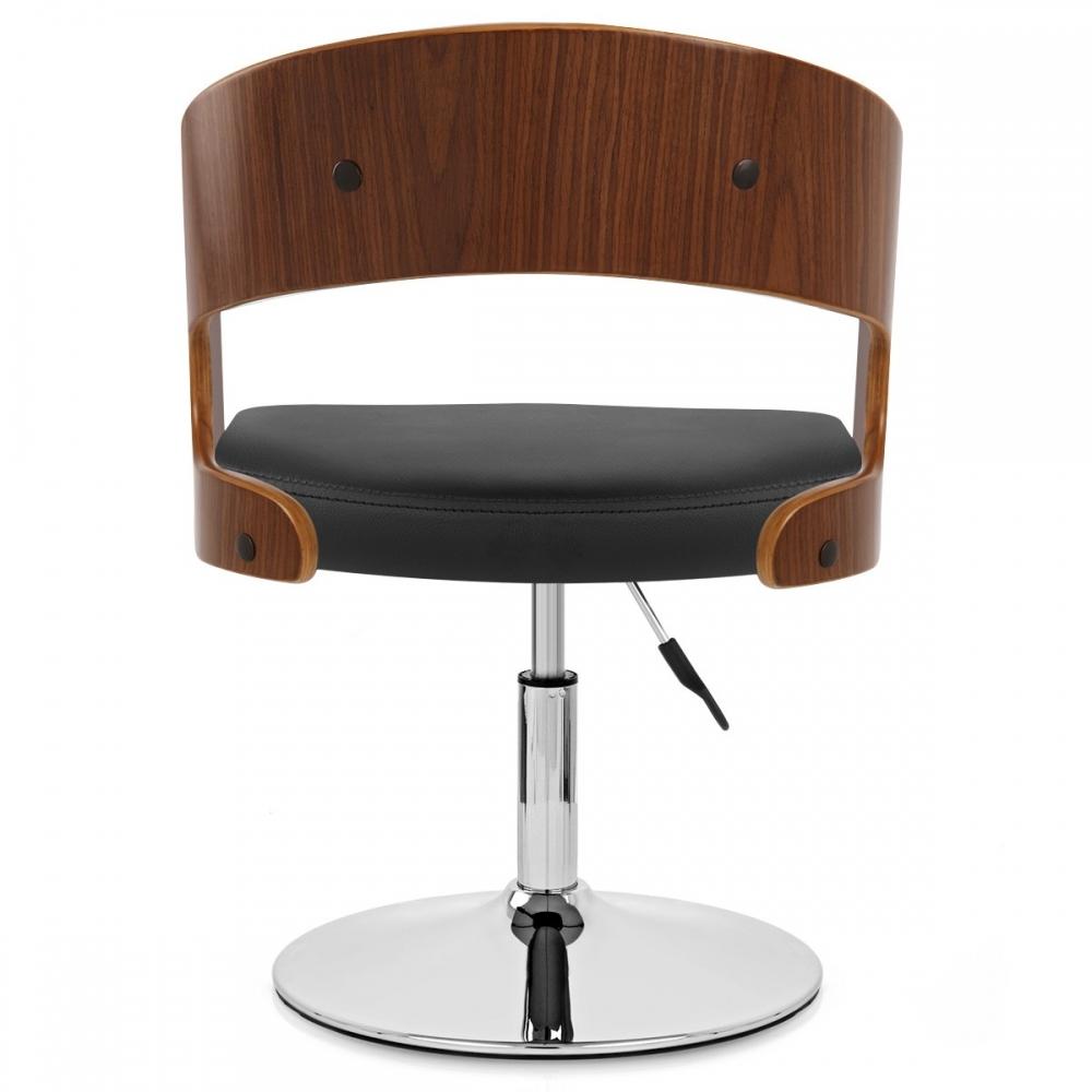 chaise bois pied chrome evelyn noyer monde du tabouret. Black Bedroom Furniture Sets. Home Design Ideas