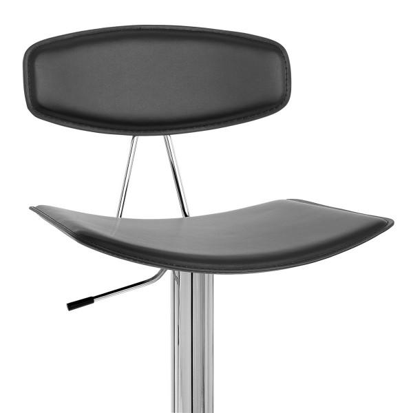 Chaise de Bar Cuir Crouté Chrome - Blade - Noir