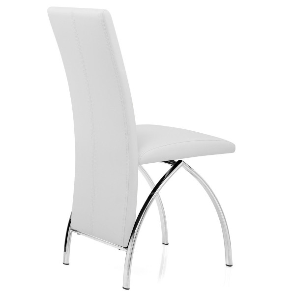 Chaise Faux Cuir Chrome - Dali Blanc