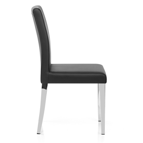 Chaise Faux Cuir Chrome - Dash Noir