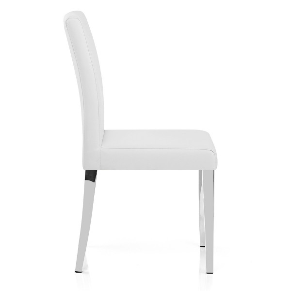 Chaise Faux Cuir Chrome - Dash Blanc