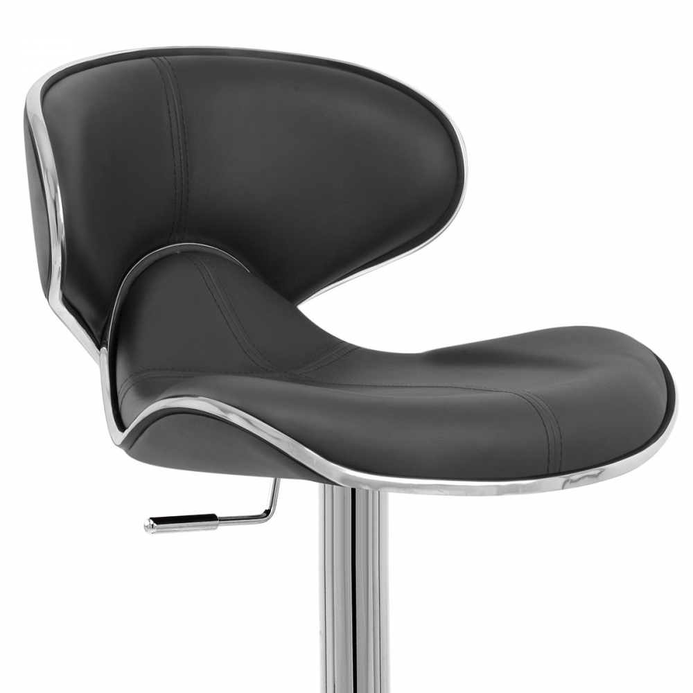 Chaise de bar cuir chrome f lix deluxe monde du tabouret - Chaise en cuir veritable ...