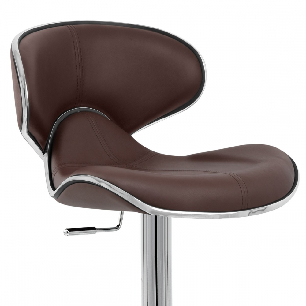 Chaise de bar cuir chrome f lix deluxe monde du tabouret - Chaise en cuir veritable ...