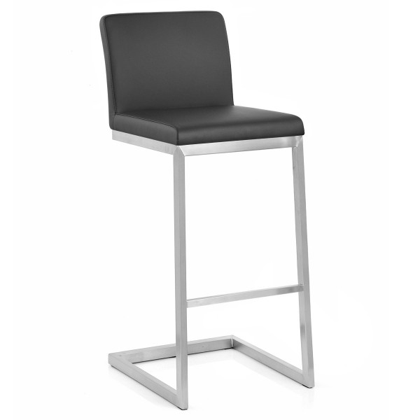 Tabouret Faux Cuir Chrome Brossé - High Ace