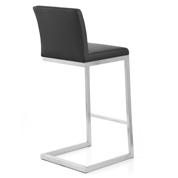 Tabouret Faux Cuir Chrome Brossé - High Ace Noir