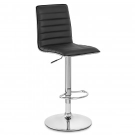 Chaise de Bar Faux Cuir Chrome - Hiline