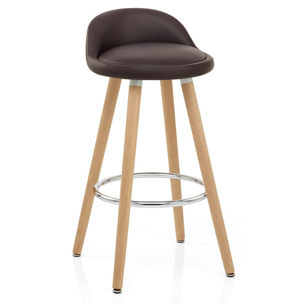 Tabouret de Bar Faux Cuir Bois - Jive Marron