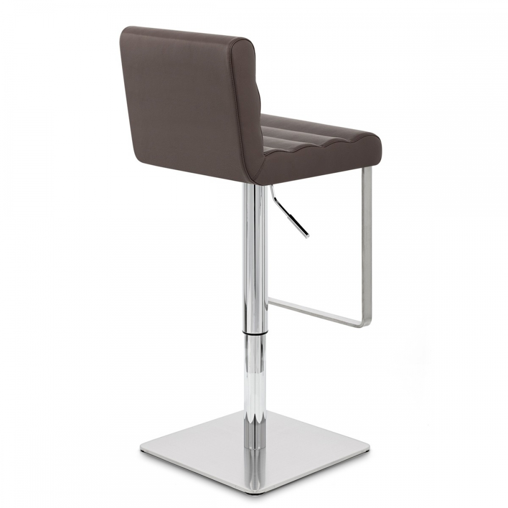 Chaise de bar cuir chrome bross lazio monde du tabouret - Chaise en cuir veritable ...