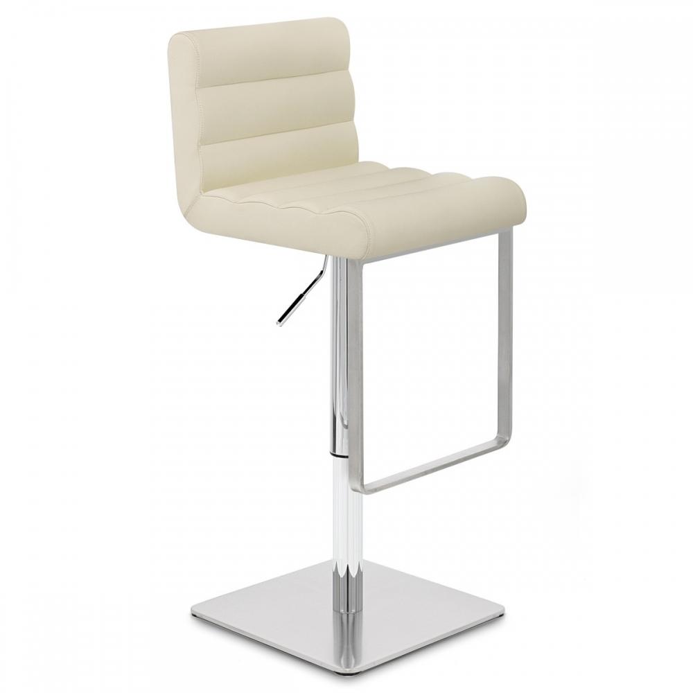 chaise de bar cuir chrome bross lazio monde du tabouret. Black Bedroom Furniture Sets. Home Design Ideas