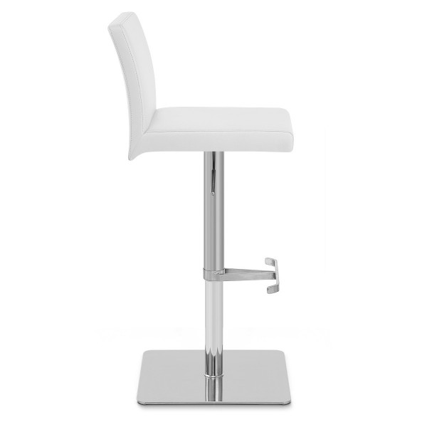 Chaise de Bar Faux Cuir Chrome Brossé - Lexi Blanc