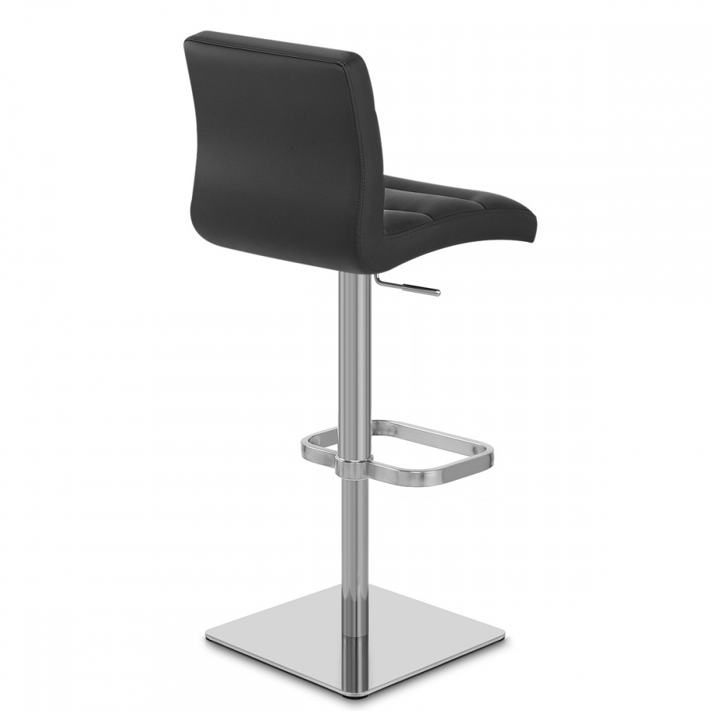 Chaise de bar cuir chrome bross lush monde du tabouret - Chaise en cuir veritable ...