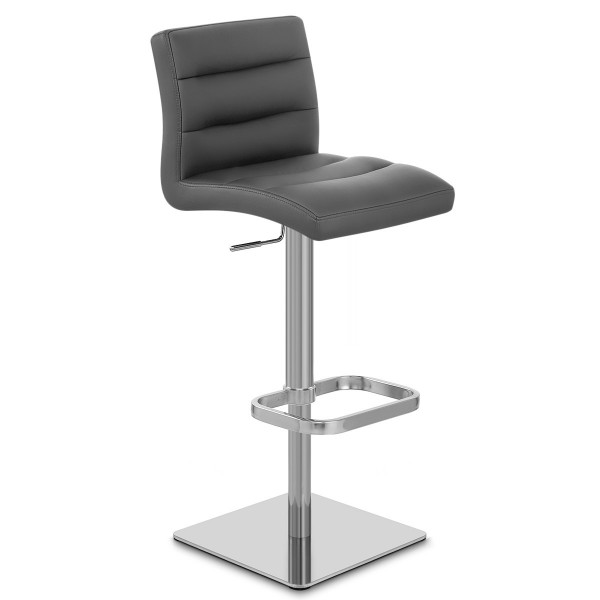 Chaise de bar cuir chrome bross lush monde du tabouret - Chaise en cuir veritable ...