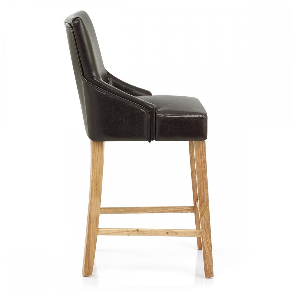 Chaise de bar faux cuir bois magna monde du tabouret for Chaises de bar en bois