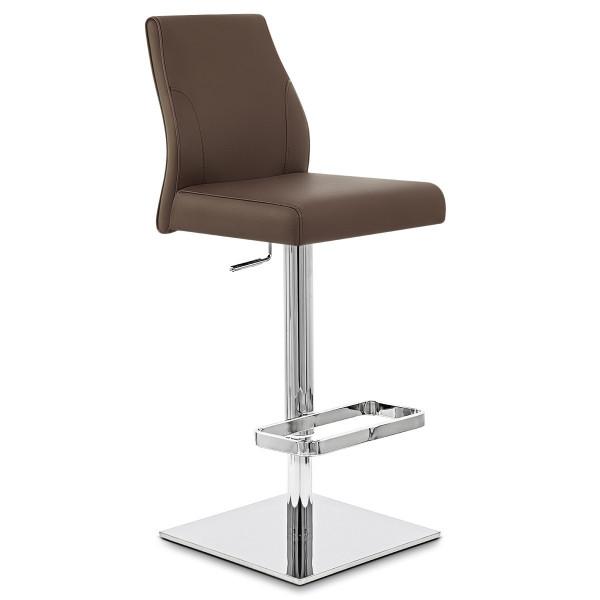 chaise de bar cuir chrome martello monde du tabouret. Black Bedroom Furniture Sets. Home Design Ideas