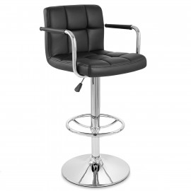 Chaise de Bar Faux Cuir Chrome - Maze