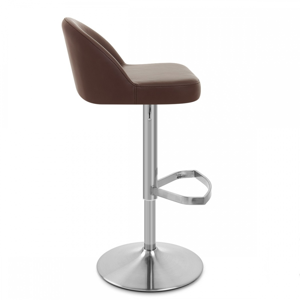 Chaise de bar cuir chrome bross mimi monde du tabouret - Tabouret de bar cuir veritable ...