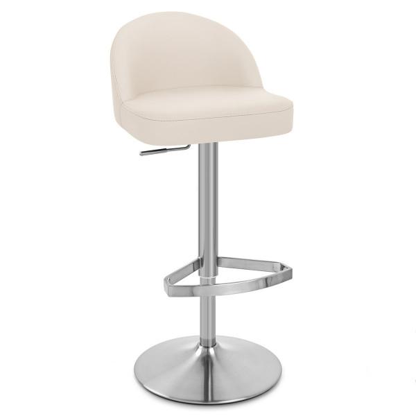 Chaise de Bar Cuir Chrome Brossé - Mimi