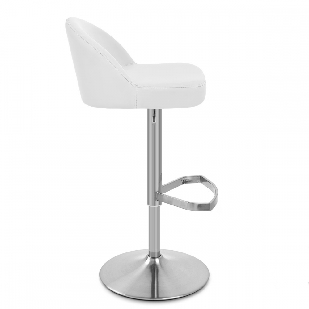 Chaise de bar cuir chrome bross mimi monde du tabouret for Chaise de bar en cuir