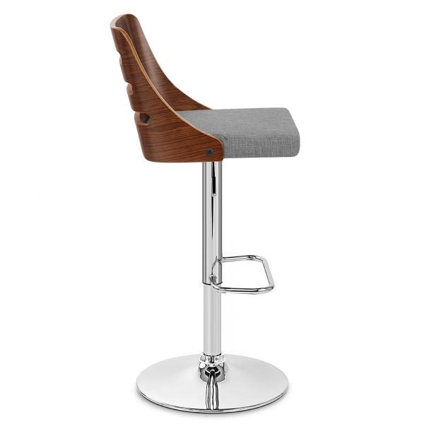 Chaise de Bar Bois Tissu - Muse Gris