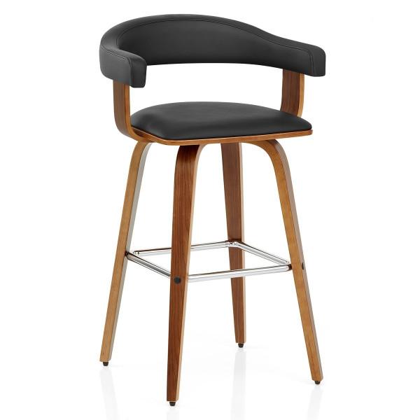 Chaise de Bar Faux Cuir Bois - Ontario Noir