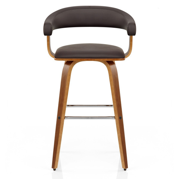 Chaise de Bar Faux Cuir Bois - Ontario Marron