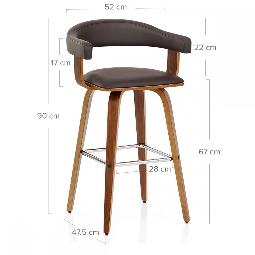 chaise de bar faux cuir bois ontario marron - Tabouret De Bar En Cuir