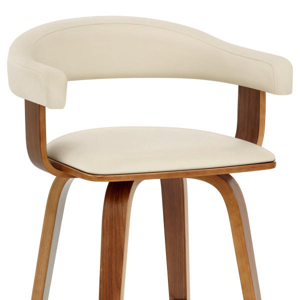 Chaise de Bar Faux Cuir Bois - Ontario Crème