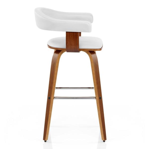 Chaise de Bar Faux Cuir Bois - Ontario Blanc