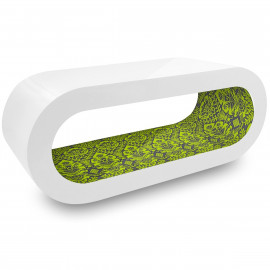 Table Basse Blanche, intérieur Motif Vert - Orbit