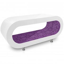 Table Basse Blanche, intérieur Motif Violet - Orbit