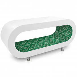 Table Basse Blanche, intérieur Motif Vert Foncé - Orbit