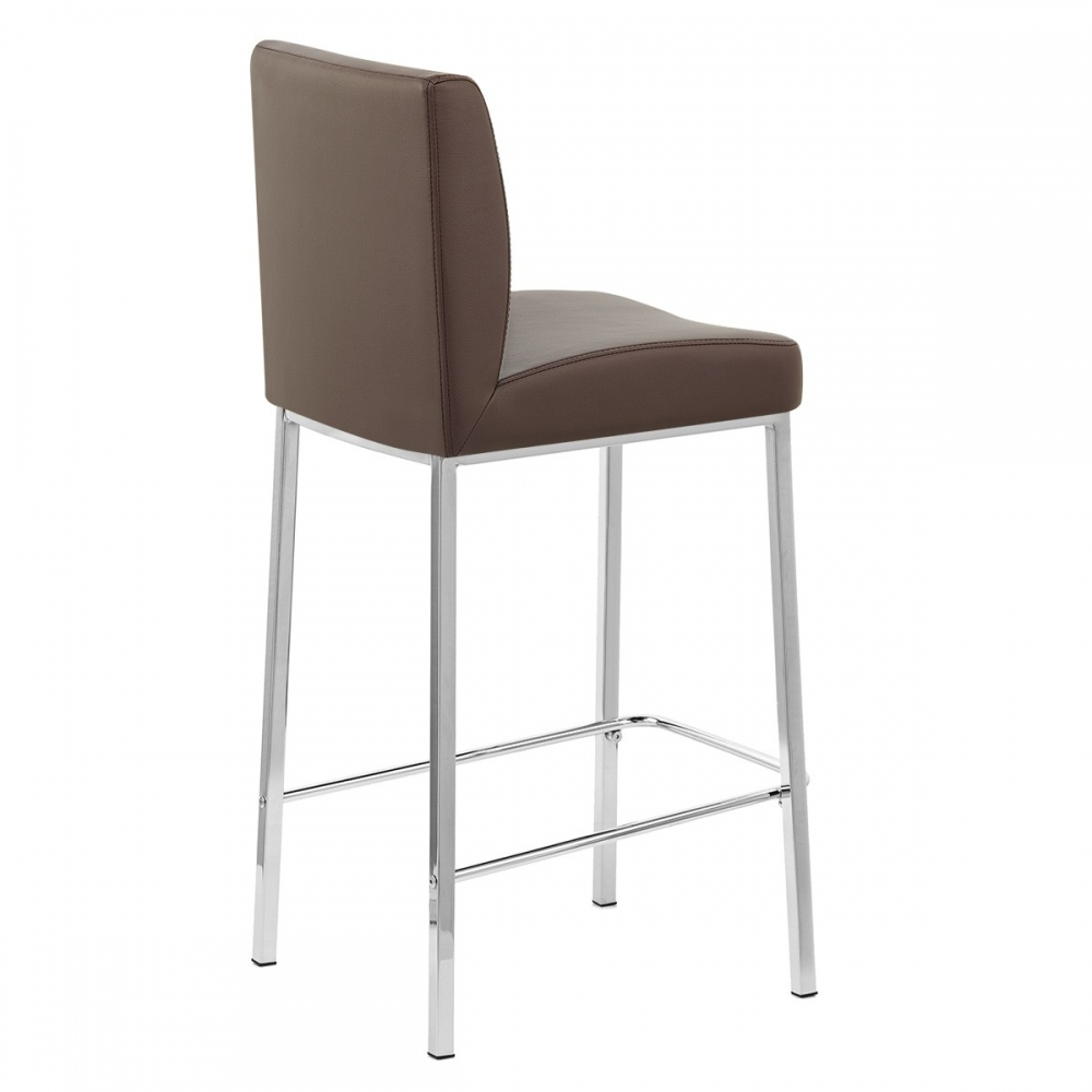 Tabouret faux cuir chrome pacino monde du tabouret for Chaise de bar en cuir