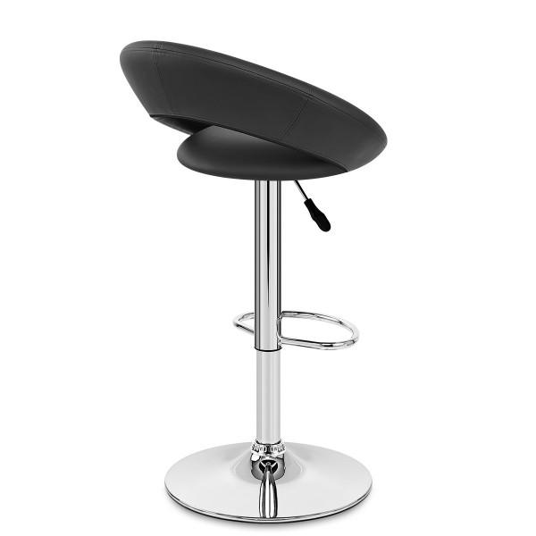 Chaise de Bar Faux Cuir Chrome - Crescent Matelassé Noir
