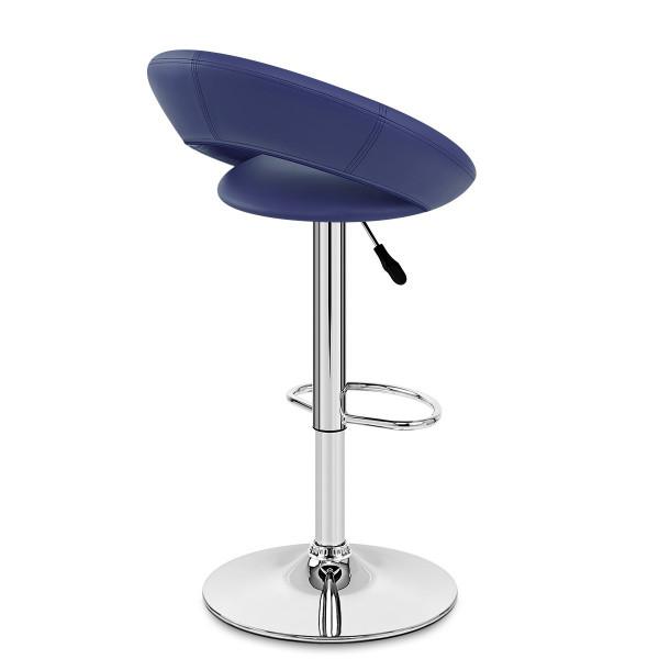Chaise de Bar Faux Cuir Chrome - Crescent Matelassé Bleu