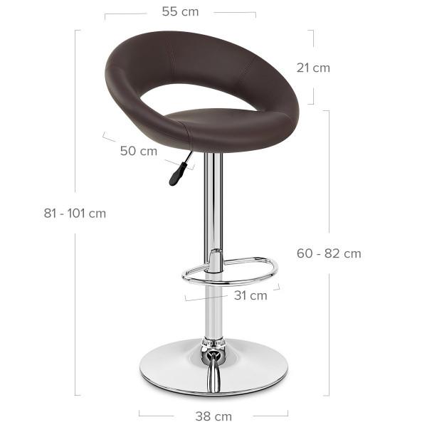 Chaise de Bar Faux Cuir Chrome - Crescent Matelassé Marron